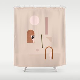 Hide and Seek Frenchie Abstract Shower Curtain