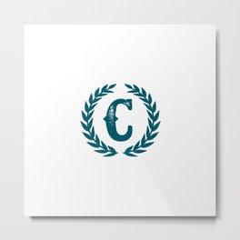 Dark Teal Monogram: Letter C Metal Print