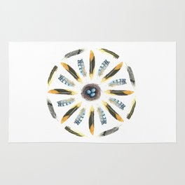 Feather Mandala 1 - Watercolor Rug