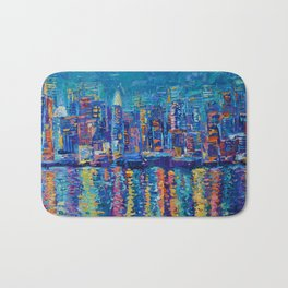 New York - The City That Never Sleeps; Palette Knife City Skyline by Adriana Dziuba Bath Mat