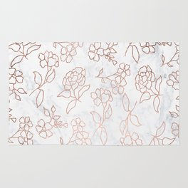 Faux rose gold floral pattern hand drawn on white marble Rug