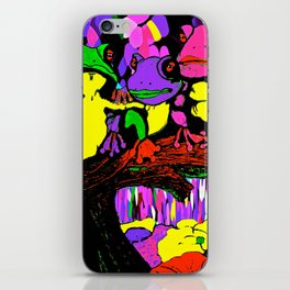 Frog Family and a Rainbow Waterfall Abstract iPhone Skin