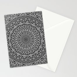 Gray colors mandala Sophisticated black and white ornament Stationery Cards