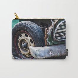 Flat tire on smashed vintage car Carry-All Pouch