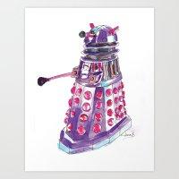 dalek Art Prints featuring Dalek by BlueAcorn