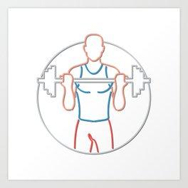 Athlete Lifting Barbell Neon Sign Art Print