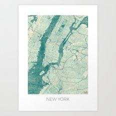 New York Map Blue Vintage Art Print