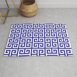 Greek Key (Navy Blue & White Pattern) Rug