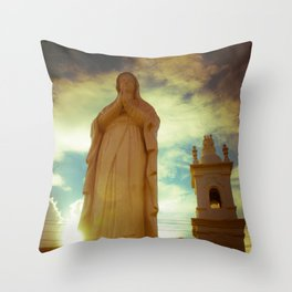 Statue of St. Michael's Church in Goa, India Throw Pillow