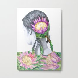 Botanical Protea Girl Metal Print