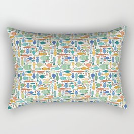 Retro Fish White Rectangular Pillow