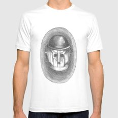 cyber chaplin White Mens Fitted Tee MEDIUM