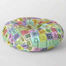 Tribal Prints in Colored Boxes Floor Pillow