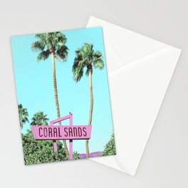 Vintage Pink Sign for Coral Sands Inn  Stationery Cards