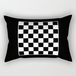 Vintage Chessboard & Checkers - Black & White Rectangular Pillow
