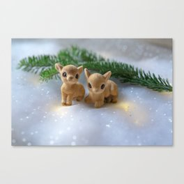 Holiday Fawns Canvas Print