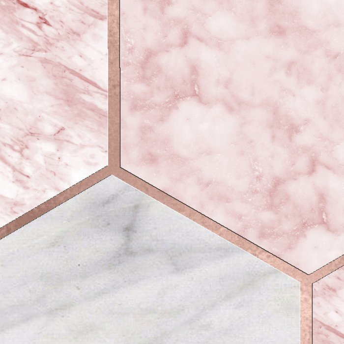 Rose gold dreaming - marble hexagons Leggings