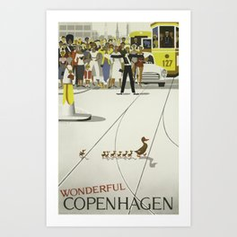 Wonderful Copenhagen - Vintage Denmark Travel Poster Art Print