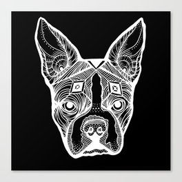 Cosmic Boston Terrier - Black Canvas Print