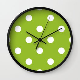 Apple green dotted seamless pattern Wall Clock