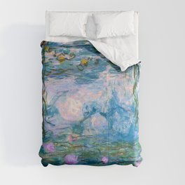 Water Lilies Monet Teal Comforters