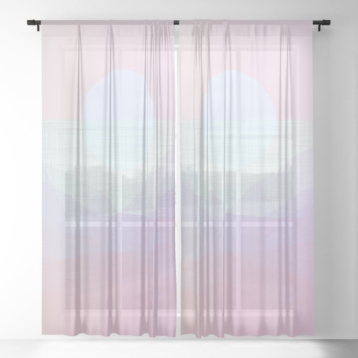 california-sunshine-glow-geometric-pastel-sheer-curtain by society6