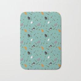 Cat Party Catnip Illustrated Print Pattern Bath Mat