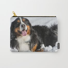 Happy Bernese Mountain Dog in the Snow Carry-All Pouch