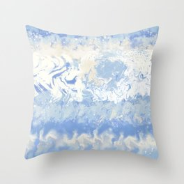 Dye Craft Tie Dyed Blue and White Waves Pattern Throw Pillow