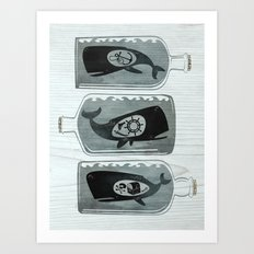 Whale in a Bottle | triptych Art Print