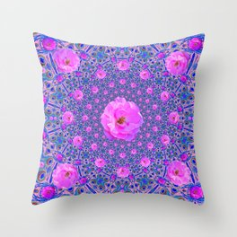 ORNATE THOUSANDS PINK ROSES & BLUE  ABSTRACT Throw Pillow