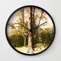cycling Wall Clocks featuring Gone Cycling by AhleetleFang