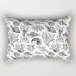 Vintage Nautical Illustrations in Black Ink Rectangular Pillow