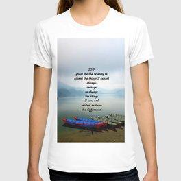 Serenity Prayer With Phewa Lake Panoramic View T-shirt