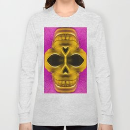 drawing and painting golden skull with pink background Long Sleeve T-shirt