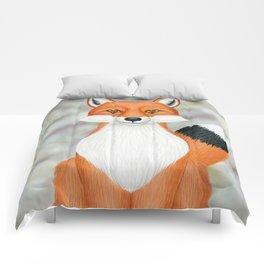 fox woodland animal portrait Comforters