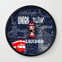 England Red Telephone Booth Double Decker Bus Scripts UK landmark London Wall Clock
