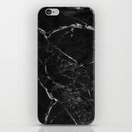 Black Marble Print II iPhone Skin