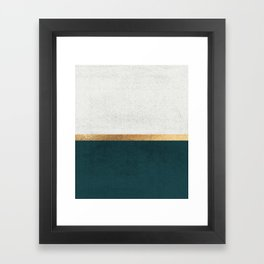 Deep Green, Gold and White Color Block Framed Art Print