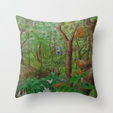 A Day of Forest (1). (walk into the forest) Throw Pillow