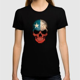 Dark Skull with Flag of Chile T-shirt