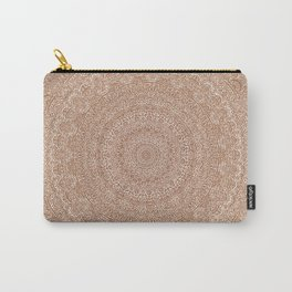 The Most Detailed Intricate Mandala (Brown Tan) Maze Zentangle Hand Drawn Popular Trending Carry-All Pouch