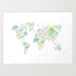Watercolour World Map (green) Art Print