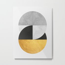 Golden Geometric Art IX Metal Print