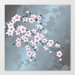 Dusky Pink Grayish Blue Cherry Blossom Canvas Print