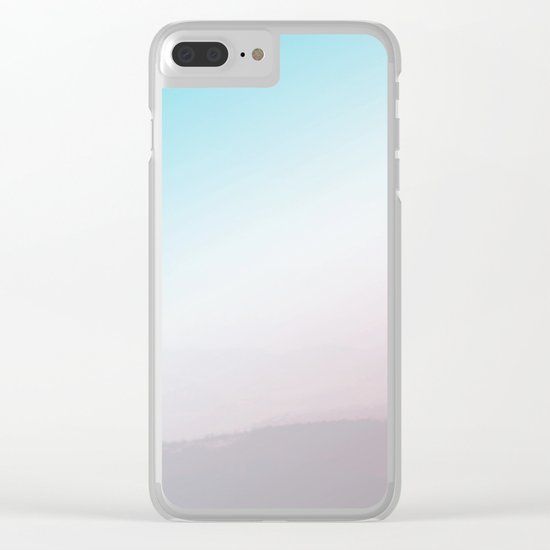 Modern Abstract Pink Blue Clear iPhone Case