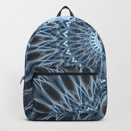 Frozen mandala in white and blue tones Backpack