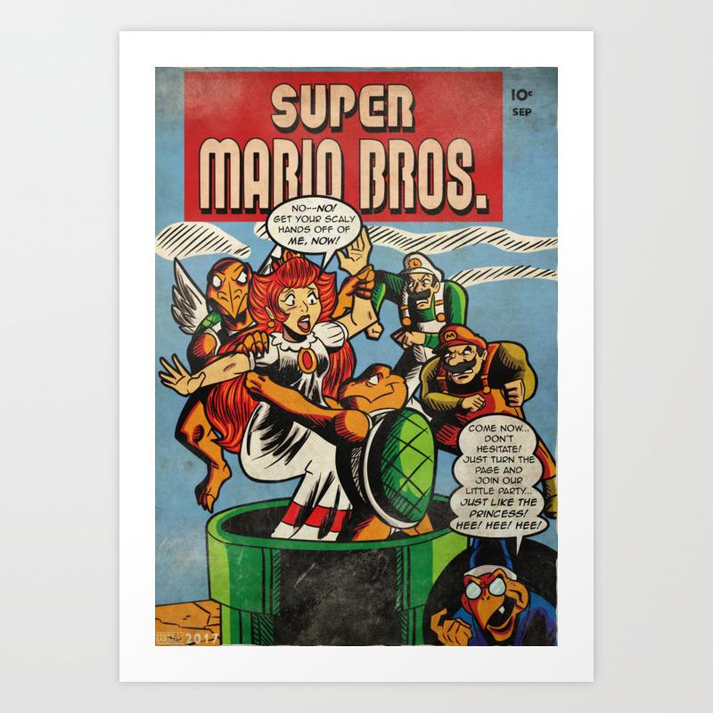 Super Mario Bros Comic Cover Art Print By Michaellarson Society6