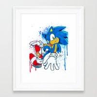 sonic Framed Art Prints featuring Sonic by Luke Jonathon Fielding