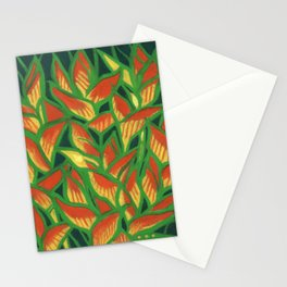 Lobster Claw / Heliconia Rostrata, tropic flowers, green, yellow & orange Stationery Cards